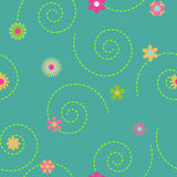 Seamless pattern of multicolored flowers and curls Royalty Free Stock Photo