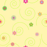 Seamless pattern of multicolored flowers and curls Stock Photos
