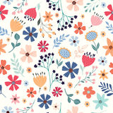 Seamless pattern with multicolored flowers Royalty Free Stock Photo