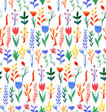 Seamless pattern with multicolored flowers watercolor Stock Photos