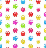 Seamless Pattern with Multicolored Hand Drawn Butterflies Royalty Free Stock Photos