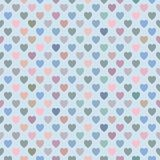 Seamless pattern with multicolored hearts shape on light blue ba. Valentine`s day. Vector of packaging design template, seamless pattern. Beautiful multicolored Royalty Free Stock Image
