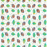 Seamless pattern with multicolored leaf on dark background. Seamless pattern with multicolored leaf and circles on white background. Can be used for packaging vector illustration