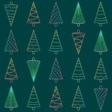 Seamless pattern with multicolored neon Christmas trees Stock Photo