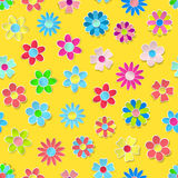 Seamless pattern of multicolored paper flowers. Seamless pattern of paper flowers in various colors with shadows vector illustration