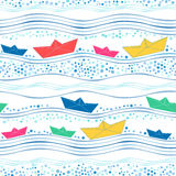 Seamless pattern with multicolored paper ships Royalty Free Stock Photo
