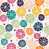 Seamless pattern with multicolored snowflakes. Hand drawn design for Christmas and New Year greeting cards, fabric, wrapping paper, invitation, stationery Stock Photo