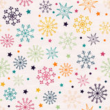 Seamless pattern with multicolored snowflakes. Hand drawn design for Christmas and New Year greeting cards, fabric, wrapping paper, invitation, stationery Royalty Free Stock Images