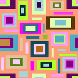Seamless pattern, multicolored squares and rectangles on orange Royalty Free Stock Images