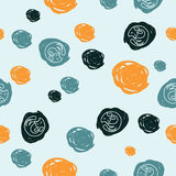 Seamless pattern of multicolored stains with cats. Orange, blue and dark stains with cats on blue background Stock Photos