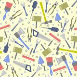 Seamless pattern of multicolored tools vector illustration