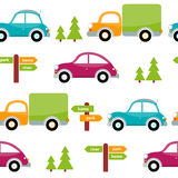 Seamless pattern of multicolored toy cars with trees, arrows, pointers. Royalty Free Stock Photos