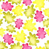 Seamless pattern with multicolored watercolor blots splashes. Design for covers, fabrics, wallpapers, packaging stock images