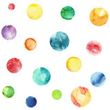 Seamless pattern with multicolored watercolor circles. Yellow, blue, green and red circles royalty free illustration