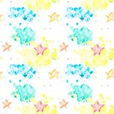 Seamless pattern with multicolored watercolor spots and stars royalty free illustration