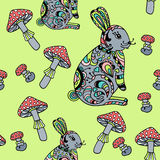 Seamless pattern with mushroom and bunny. Stock Image