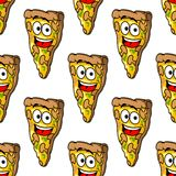 Seamless pattern of mushroom pizza slices Royalty Free Stock Image