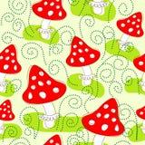 Seamless pattern with mushrooms. Seamless pattern with bright cute amanita mushrooms Royalty Free Stock Photo