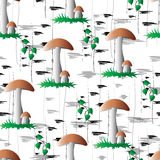 A seamless pattern, mushrooms against birches. Stock Photo
