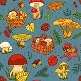 Seamless pattern with mushrooms blue Royalty Free Stock Photo