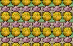 Seamless pattern with mushrooms and cabbages Stock Photo
