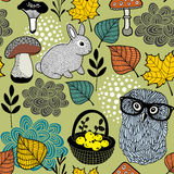 Seamless pattern of mushrooms and forest animals. Royalty Free Stock Photography