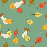 Seamless pattern with mushrooms and leaves Royalty Free Stock Images