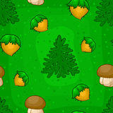 Seamless pattern with mushrooms, nuts and tree Stock Photos