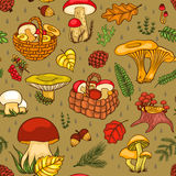 Seamless pattern with mushrooms Royalty Free Stock Images
