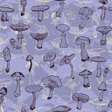 Seamless pattern with mushrooms Royalty Free Stock Photography