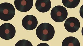 Seamless pattern from music audio vinyl record on a background of 60s, 70s, 80s, 90s. The background. Vector illustration. Seamless pattern from music audio of vector illustration