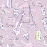 Seamless pattern with music and city Stock Images