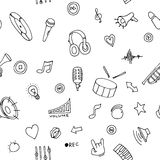 Seamless pattern Music doodles Stock Photo