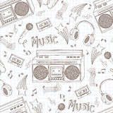 Seamless pattern of music equipment. Stock Images