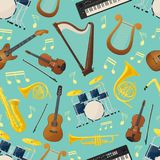 Seamless pattern with music guitar and drum kit. Seamless pattern made of different music instruments for sound or audio wrapper. Trumpet and drum kit or trap royalty free illustration