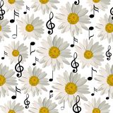 Seamless pattern with music notes and daisies. Isolated on white background Royalty Free Stock Photos