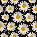 Seamless pattern with music notes and daisies. Seamless pattern with gold music notes and daisies on black background Royalty Free Stock Image