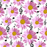 Seamless pattern with music notes and pink daisies. Isolated on white background Royalty Free Stock Images
