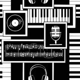 Seamless pattern of musical attributes Royalty Free Stock Photos