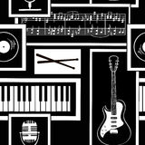 Seamless pattern of musical attributes Stock Images