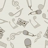 Seamless pattern with musical instrument and notes. Stock Image