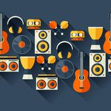 Seamless pattern with musical instruments in flat Stock Photos