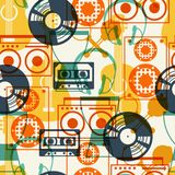 Seamless pattern with musical instruments in flat Stock Images