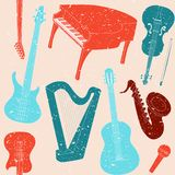 Seamless pattern with musical instruments. Grunge seamless pattern with musical instruments silhouettes Stock Image