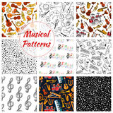 Seamless pattern of musical instruments Stock Photos
