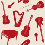 Seamless pattern with musical instruments Stock Photo