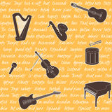Seamless pattern with musical instruments Stock Photography