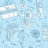 Seamless pattern with musical instruments, trees, birds. Stock Image