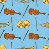 Seamless Pattern with Musical Instruments Royalty Free Stock Photos
