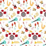 Seamless pattern with musical instruments on the white background vector illustration